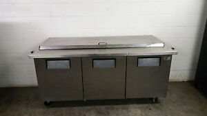 True Qa 72 30m b Raised Rail 3 Door Refrigerated Pizza Prep Table No Hinge shelf