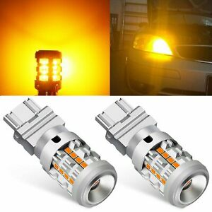 2x 3157 Amber Led Turn Signal Light Bulb Anti Hyper Flash Built in Load Resistor