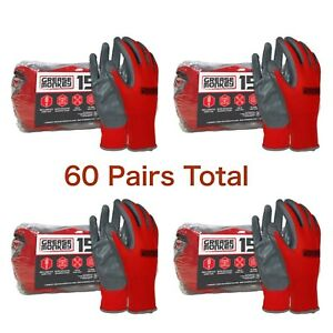 Lot 4 Pairs Grease Monkey Nitrile Coated Work Gloves Grey Red Big Large 15 Pk