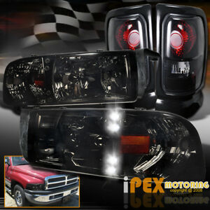 Shiny Smoke 94 01 Dodge Ram 1500 2500 3500 Led Headlight Dark Smoke Tail Light