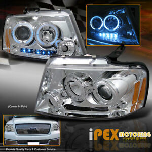 2004 2008 Ford F150 Styleside Dual Halo Projector Led Headlights Headlamp Chrome