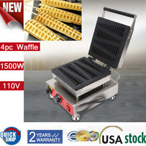 Commercial Nonstick Electric 4pc Lolly Waffle A Stick Maker Baker Machine 1 5kw