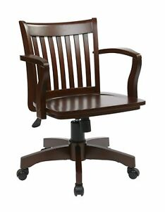 Office Star Deluxe Wood Bankers Desk Chair With Wood Seat Espresso New