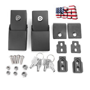 For Jeep Wrangler Jk 2007 2017 Black Metal Locking Hood Lock Catch Latches Kit