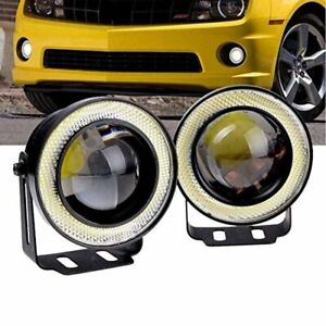 2x 3 Inch Car Truck Projector Led Fog Light Lamp Kit White Cob Angel Eye Ring