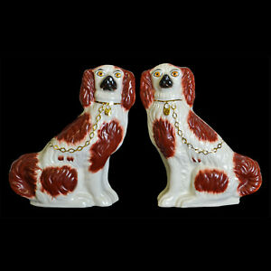 Antique Vintage Staffordshire Knot Marked Russet Red White Spaniel Dog Pair