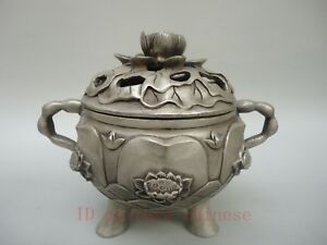 Collected Old China Tibet Silver Carved Lotus Incense Burner Buddha Decoration