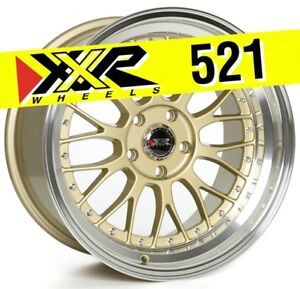 Xxr 521 18x10 5 114 3 12 Gold Wheels Set Of 4 Huge Lip Classic Mesh