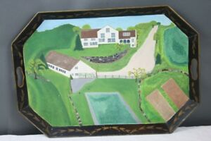 Antique Tole Tray Hand Painted Farm Scene Barn Hillside Stone Wall Lush Greens