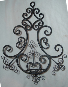 Pair Antique Primitive Gothic Colonial Wrought Iron Candle Oil Lamp Sconce S