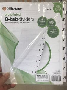 21 Packages Of Binder Dividers 8 Tabs