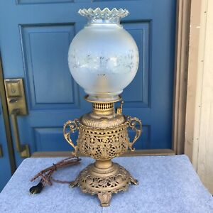 Antique Victorian Lamp Converted To Electric Old Oil Metal Gold Glass Shade