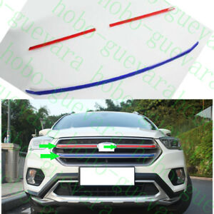 3x Red blue Abs Front Upper Grille Decorative Trim For Ford Escape Kuga 2017 18