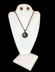 Two White Leatherette Necklace Pendant Earring Display Stands Jewelry