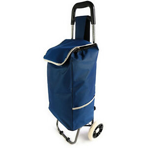 Shopping Grocery Cart Foldable Lightweight Rolling Trolley Bag Laundry Tote Blue