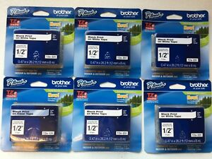 Six 6 New Genuine Brother Tze 231 P touch 1 2 12mm Tapes Black On White