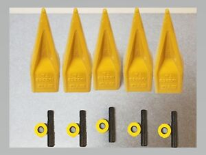 Cat Style Tiger Tooth Bucket Teeth set Of 5 With Pins And Retainers 1u3252tl
