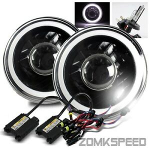 7 Inch Round Black Housing White Smd 3d Tube Projector Headlight 6000k H4 2 Hid