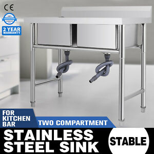 39 x23 5 Two Compartment stainless Handmade Sink Square Wash Table Commercial