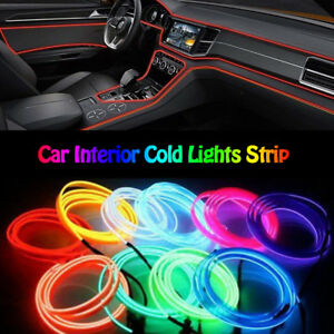 3m Red El Wire 12v Car Interior Decor Fluorescent Neon Strip Cold Light Tape