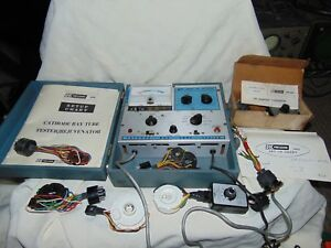 Dynascan B k Precision Model 465 Crt Tester With Many Attachments Paperwork