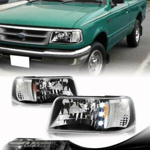 For 93 97 Ford Ranger 1 piece Black Housing Led Headlights Amber Reflector Lamps