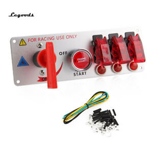 12v Racing Car Ignition Switch Panel Engine Start Push Led Toggle Button Kit