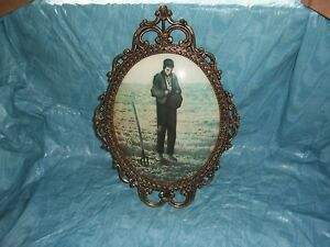 Vintage Brass Metal Oval Picture Frame Convex Bubble Dome Glass 17 X12 Blue