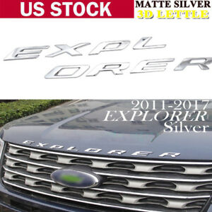 For Ford Explorer 2011 2018 Silver Graphite Hood Letters Emblem Matte Finish
