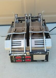 Star Pro max Two sided Split Top Sandwich Grill Press W 14 x14 Grooved Griddle