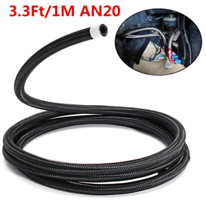 3 3ft 1m An20 Car Oil Fuel Line Gas Radiator Nylon Steel Braided Hose Universal