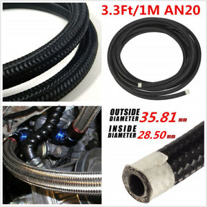3 3ft An20 Car Engine Fuel Oil Line Gas Radiator Nylon Steel Braided Hose Pipe