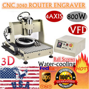 4 Axis Cnc 3040 Router 3d Engraver Engraving Milling Drilling Machine 800w Vfd