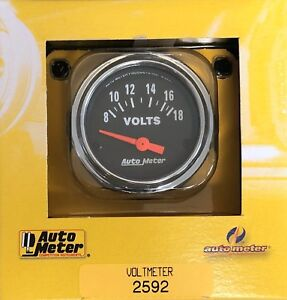 Auto Meter 2592 Traditional Chrome Voltmeter Gauge 2 1 16 52 Mm 8 18 Volts