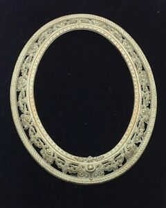 Vintage Ornate Metal Oval Frame With Glass