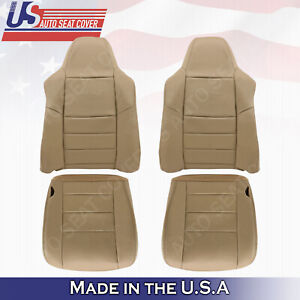 2002 07 Ford F250 F350 Lariat Front Back Bottoms Tops Leather Seat Cover Tan