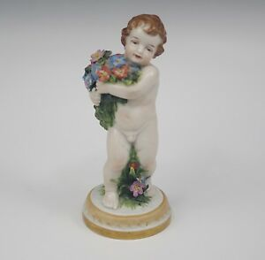 Antique Volkstedt Germany Cherub Nude Putti With Flowers Figurine
