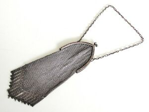 Antique Vintage Ernst Bek Sterling Silver Art Deco Mesh Coin Purse Bag Clutch