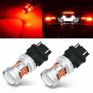 2pcs 3157 3156 Led Tail Brake Stop Turn Signal Light Bulb Red Projector Lens Car