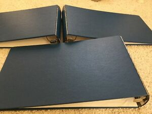 Three Used Blue Wilson Jones Steel Back 3 ring Vinyl Binder Ledger