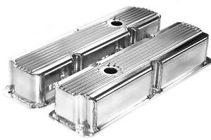 Ford Aluminum Fabricated Valve Covers Fe Polished Finned Tall Bbf 360 390 428