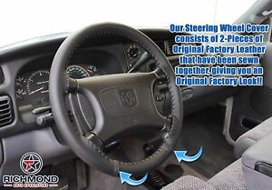 1998 2003 Dodge Durango black Leather Steering Wheel Cover W needle