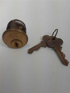 Antique Bronze Corbin Mortise Cylinder With 2 Original Keys