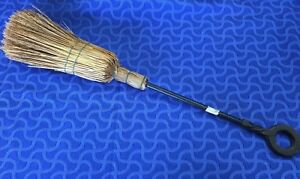 Antique Vintage Hearth Cast Iron Handle Wire Bound Straw Broom 25 Long
