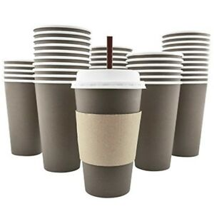 100 Count Pack 16 Oz Disposable Coffee Cups With Lids Sleeves Stirrers Hot Paper