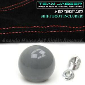 For Jeep Dodge M10 Round Billiard Black Ball Manual Shift Knob Red Stitch Boot