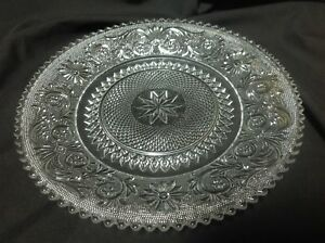 8 Clear Glass Salad Luncheon Sandwich Plate Lace Pattern By Duncan Miller