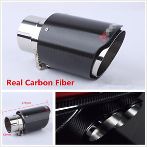1x Real Carbon Fiber Glossy Car Exhaust Pipe 63mm 89mm Universal Muffler End Tip