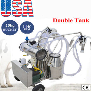 Double Tank Milker Electric Milking Machine Vacuum Pump For Dairy Farmcow Cattle