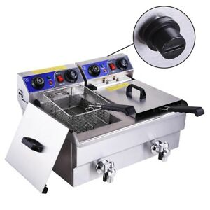 New 23 4l Electric Dual Tank Deep Fryer Restaurant Chicken French Fry W Drains
